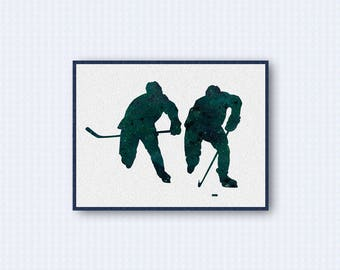 Ice Hockey Player Watercolor Poster