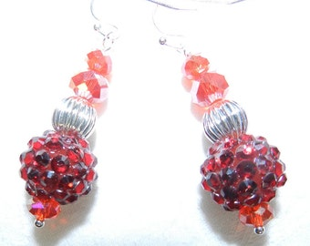 Handcrafted Jewelry, Earrings, Red Disco Glitter Balls With Glass Crystals, Dangles
