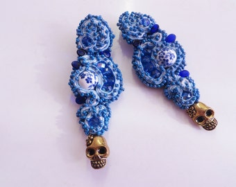 Sugar skull earrings / Blue Ornate Earrings / Long clip on earrings / Day of the Dead jewelry / Beaded bijoux