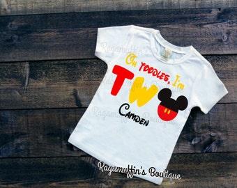 Boys Second Birthday shirt, Mouse birthday shirt, Mickey birthday shirt, Oh Toodles I'm two shirt, Boys birthday shirt, 2nd birthday shirt