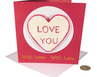 White Love Heart Card, Fridge Magnet Card, LOVE YOU Card, Romantic Card, Card with Magnet, Valentine's Day, Geek Card, Textspeak Card