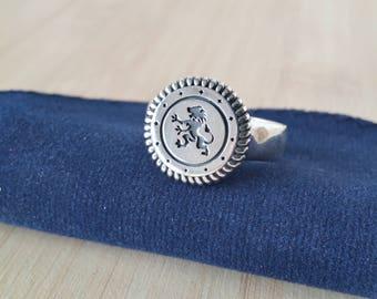 Handmade Sterling Silver Lion Signet