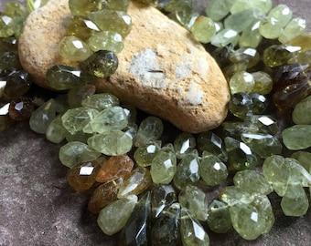 Grossular garnet teardrop, faceted grossular garnet, gemstone supply, beads, semi precious