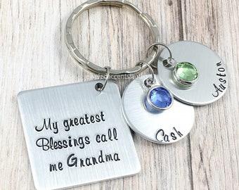 Grandma Keychain, My Greatest Blessings Call Me Grandma, Personalized Keyring, Hand Stamped, Mother's Day, Grandma Gift, Mom, Nana, Granny