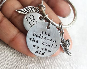 She believed she could keychain, RUNNING NECKLACE, running jewelry, sole sister, marathon jewelry, running jewelry, fitness jewelry,