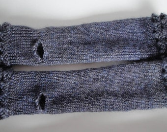 blue-gray armwarmers, fingerless gloves, merino silk mitts, long mittens, luxury accessory, hand-spun yarn mitts, silk mix fingerless mitts