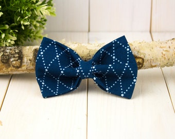 Blue Argyle Dog Bow Tie // Pet Bow Tie