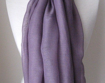 Purple viscose infinity scarf, Lightweight purple long scarf for spring, summer and fall, Purple cotton infinity scarf, Mothers day gift