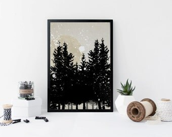 Forest art print, black and white, home wall art, apartment decor, gift, moon print, nature illustration
