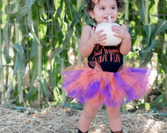 Orange and glitter purple tutu, Halloween tutu, baby girl tutu, photography prop, first birthday tutu, Pumpkin patch tutu