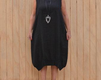 Linen Lagenlook Plus Size Dress Quirky Tunic Style Summer Dress, Linen Dress, UK Size 14 16 18 20 22 24 26 /US 12 14 16 18 20 22 24 A50