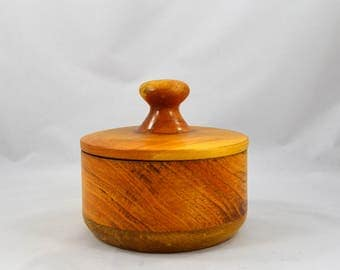 Hand Turned Wooden Bowl With Handled Cover, Vintage Handmade Bowl