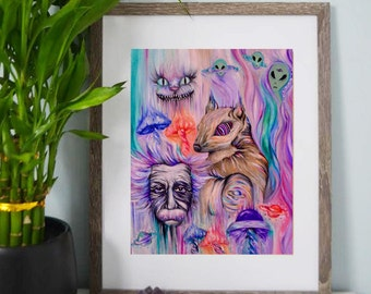 Psychedelic Squirrel, Albert Einstein, Cheshire Cat, Alice in Wonderland - Abstract, Colorful Artwork - Art Prints - Wall Art - Posters