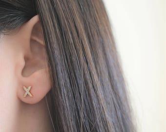 Silver XO Earrings. Sterling Silver Xo Stud Earrings. Cz Small XO Earrings. 18K Gold Plated Silver XO Earrings. Rose Gold Xo Earrings.