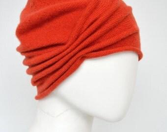 Cashmere Beanie, Turban-like, orange, sand, warm hat
