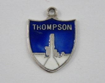 Enameled Blue and White Thompson Travel Shield Sterling Silver Charm or Pendant.