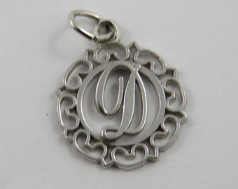 Initial D Sterling Silver Charm of Pendant.