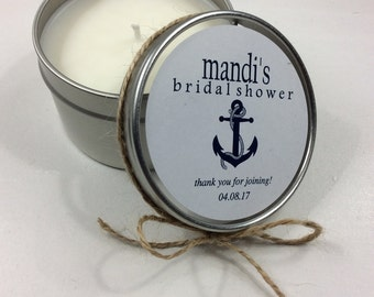 Set of 12- 6 oz bridal shower candle favors, wedding favors, custom favors, rustic favors, soy candle favors, bridal shower candle favors