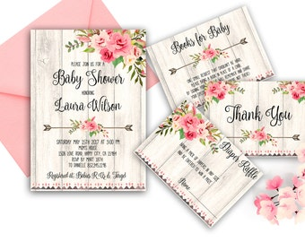 Floral Baby Shower Invitation Printable Boho Baby Shower Invite Blush Pink Baby  Bohemian Baby Invitation Roses Baby Invitation