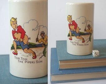 Tom, Tom, the Piper's Son Nursery Rhyme Bank Collectible Vintage Children's Literature