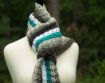 Striped Scarf - Turquoise Neck Warmer with White & Gray Stripes - Long Winter Scarf with Fringe - Crocheted Women's Scarf