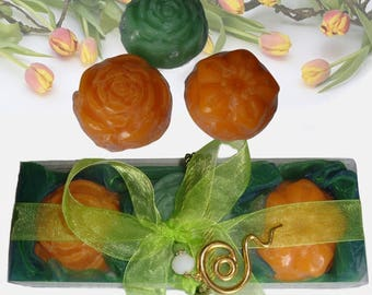 Green Orange Elegant Gift Set for Women, Luxury Fine Soaps, Handmade Green Jewelry Necklace, Feast Gift, Birthday Gift, Retirement Gift