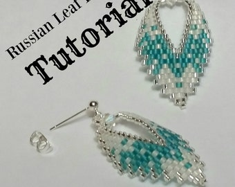 Russian Leaf Earrings, TUTORIAL, done in brick stitch