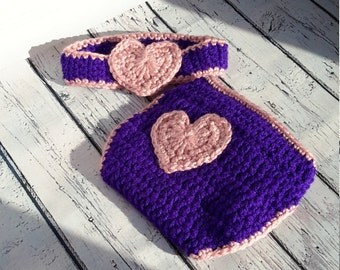 Onesie hook, onesie St-Valentin, covers-adjustable, baby diaper violet, headband together purple and pink heart