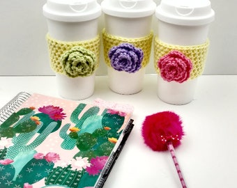 Yellow Crochet Cup Cozy: Coffee/Tea Sleeve with flower (Green, Purple, or Pink)   [050]