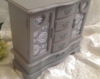 Large Jewelry Box Armoire Gray Shabby Chic Distressed Jewelry Box Organizer Storage