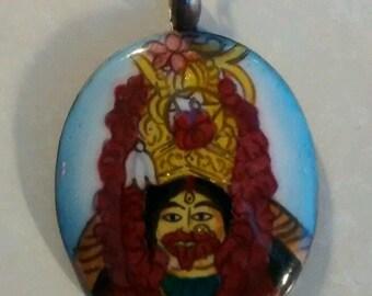 hindu goddess kali, tarapith enamel silver pendant/chain