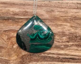 Pyrite and malachite necklace