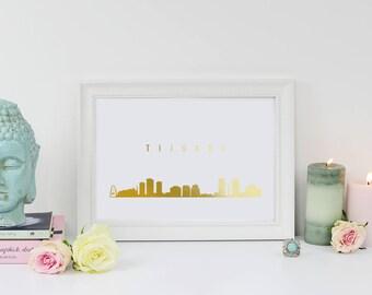 Tijuana Cityscape, Tijuana Print, Gold Skyline Art, Tijuana Skyline, Real Gold Foil Print, Home Decor, Mexico Skyline, Mexico Print, 8x10