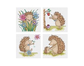 Mr. Hedgehog - Set of 4 - Durene J Cross Stitch Patterns