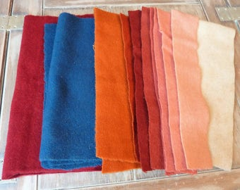 Hand Dyed Assortment of 100% Wool Felt / Assorted Colours / Rug Hooking Bundle / Lot of Rug Hooking Wool