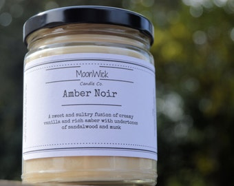 Amber Noir Natural Soy Candle | 8oz Glass Jar | Highly Scented | Long Lasting Soy | Amber Candle | Amber Soy | Luxury Scented Candle
