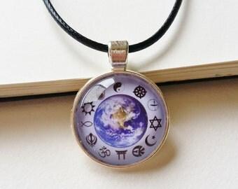 World Religious Acceptance Necklace - religious jewelry, united religion necklace, peace jewelry, peace pendant, earth necklace