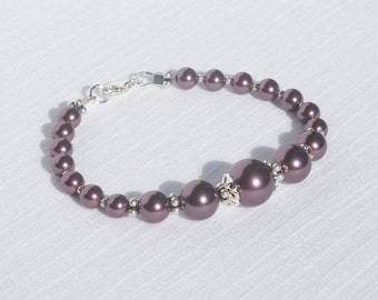 Swarovski burgundy pearl and sterling silver bracelet