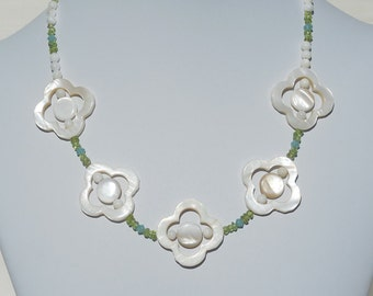 Mother of pearl, peridot gemstone, and Swarovski crystal necklace