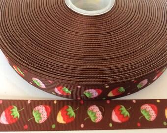 Strawberry grosgrain ribbons, fruit Ribbon, food Ribbon, Summer Ribbon, picnic ribbon,7/8 inch  Grosgrain ribbon