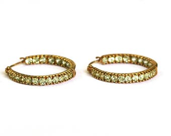 Peridot Hoop Earrings in 10k Yellow Gold