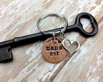 NANA Est. Penny Keychain/ Mother's Day /New Nana/ New Grandma/ First NANA Gift / Heart Keychain/Copper Metal Stamped Accessory