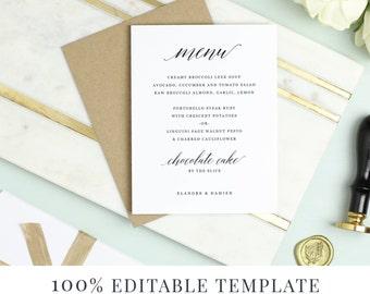 Menu Template, Printable Wedding Menu, DIY Menu, Word or Pages, Mac or PC, Modern Calligraphy, Instant DOWNLOAD