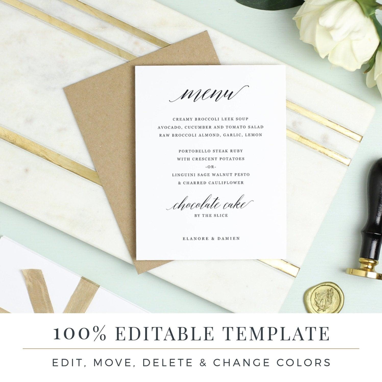 Menu Template, Printable Wedding Menu, DIY Menu, Word or Pages, Mac ...
