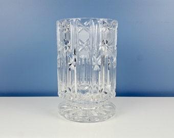 Vintage Large Crystal Vase Cylindrical Vase Pedestal Vase Cut Crystal Glamorous Decor