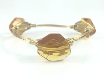 Mustard Yellow Glass Wire Wrapped Bangle - Wire Jewelry - Boho Bangle -Gift for Her - Custom Jewelry - Gift Under 15 - Courtney And Courtnie