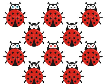 70% OFF Fun Face Lady Bug Cliparts, Fun Face Lady Bug Clipart Graphics, Personal & Small Commercial Use, Instant Download