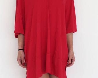 Vintage minimal red long over sized elastic cotton top shirt.plus sizes
