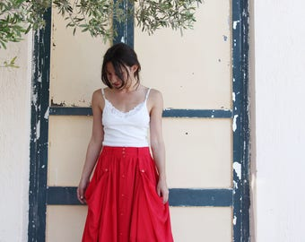 Vintage red maxi viscose layered skirt.size s/m