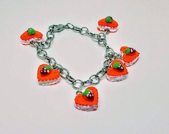 Food Jewelry Heart Ice Cream Sandwiches Strawberry Cake Charm Bracelet